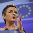 European Commissioner in charge of competition policy Margrethe Vestager gives a press conference