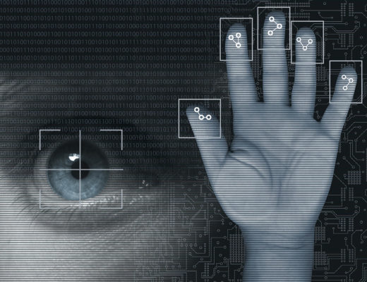 22 Feb 2011 --- Biometric security. Computer artwork showing a human hand with its fingerprints being analysed, and a human eye with its iris being scanned. Fingerprints and irises both contain unique patterns that can be used to determine the identity of an individual. When these are scanned, a computer will divide the scans into areas that are then compared to information already stored in a database. The process of automated identification of people using unique physiological traits is known as biometric identification. --- Image by © Science Photo Library/Corbis